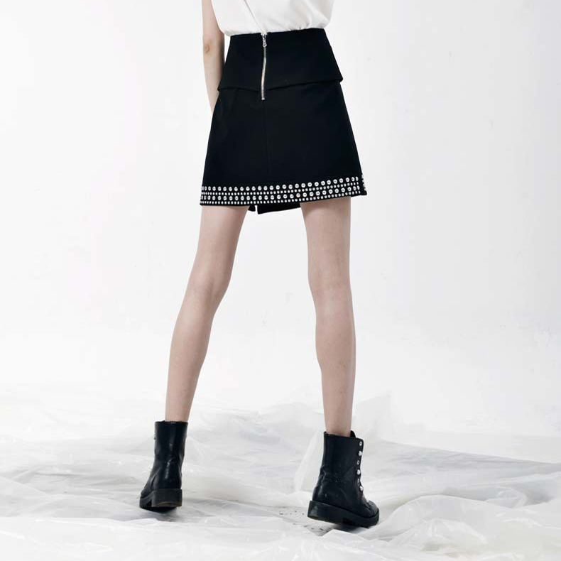 Rivet Patchwork Split Asymmetrical Zipper Skirt for Women