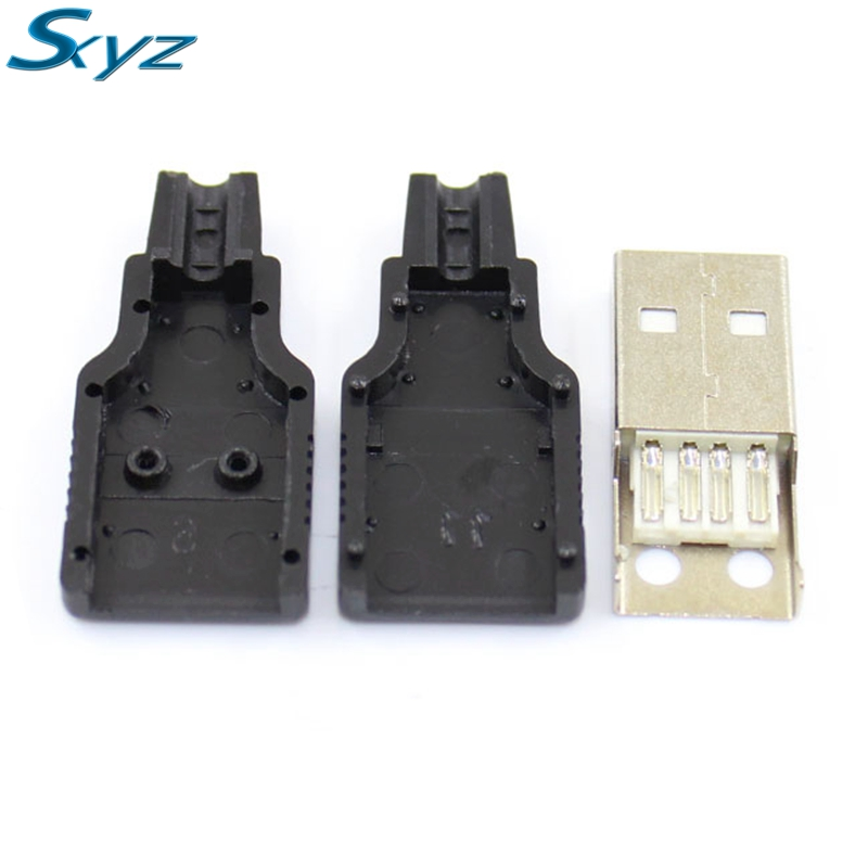 10pcs/lot USB Male 4Pin A Type Plug Connector with Plastic Cover for Data Connection Interface Charging 10pcs g41 usb male 4pin a type plug