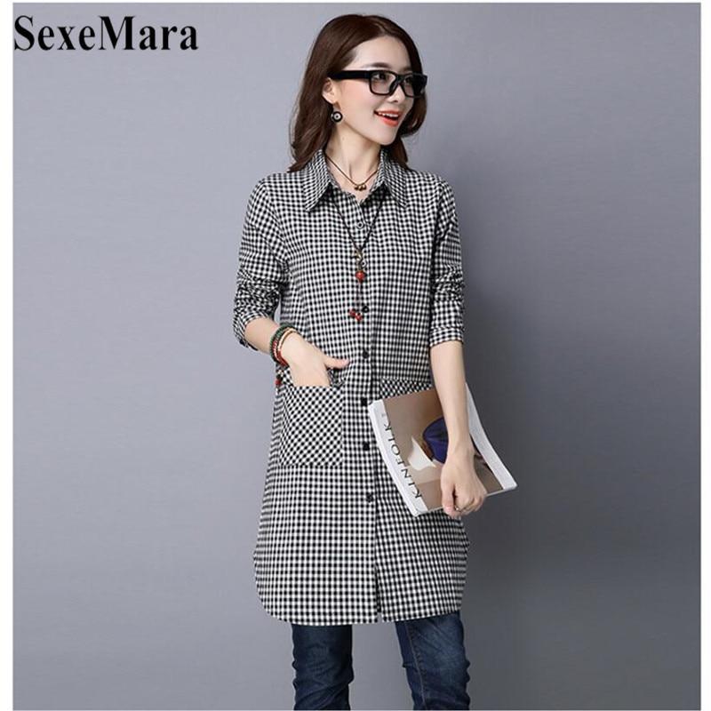 SexeMara Korean Version Of Large Size Lapel Cotton And Black And White Plaid Long Loose Shirt Female Blusas Mujer De Moda 2019 (1)
