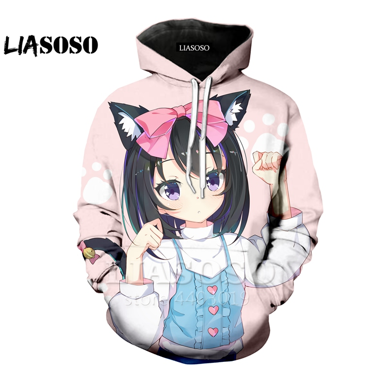LIASOSO New Fasion Anime <font><b>3D</b></font> Print Men Women Cat Girl Hoodie Sweatshirt Hip hop <font><b>Cartoon</b></font> Funny Cute <font><b>Sexy</b></font> Hooded Sweatshirt A046-30 image