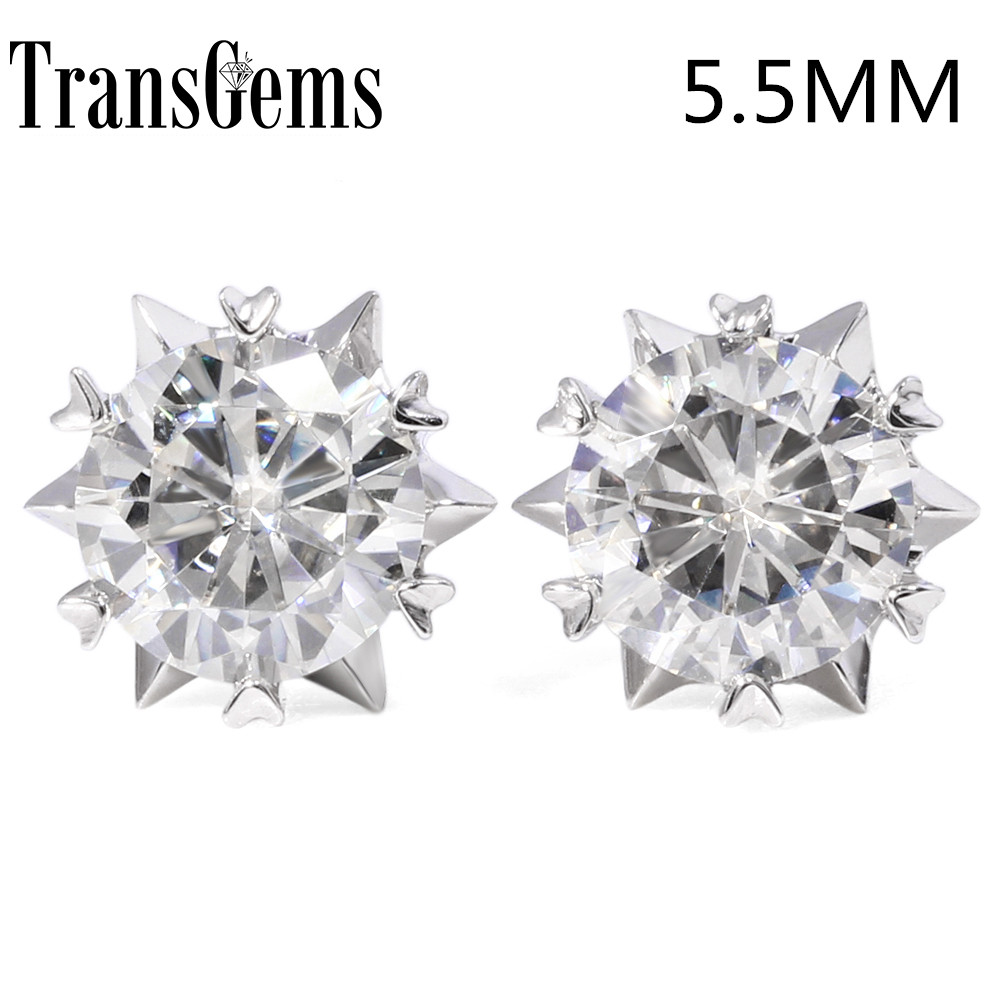 ae36db268 Transgems Snow Flower Shaped 14K 585 White Gold 1.2CTWct 5.5mm Moissanite Stud  Earrings Push Back for Women Wedding Jewelry