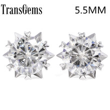 TRANSGEMS 1.2 ctw Carat Lab Grown Moissanite Diamond Stud Earrings For Women Solid 18K White gold