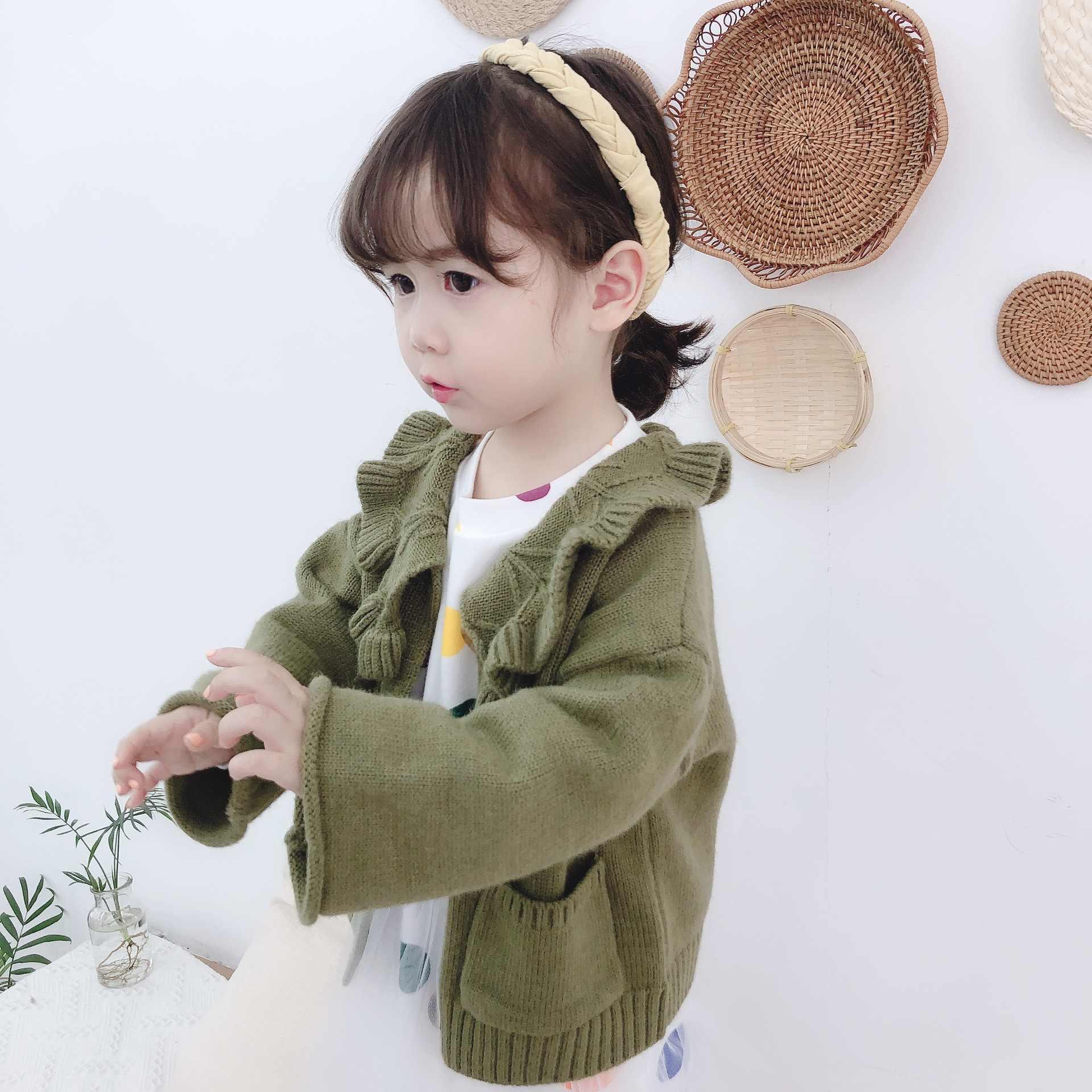 Phong cách Hàn Quốc bé gái thời trang GỌNG lớn cổ bẻ Áo Len cardigan trẻ em 2 màu lỏng lẻo Áo len sợi dệt kim áo khoác