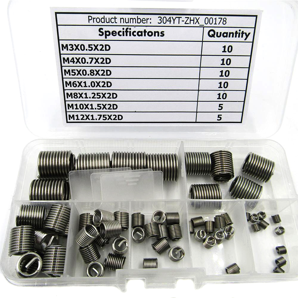 цена на 60pcs M3-M12 Stainless Steel Thread Repair Insert Kit M3 M4 M5 M6 M8 M10 M12 Durable Hardware Fasteners Accessories Mayitr