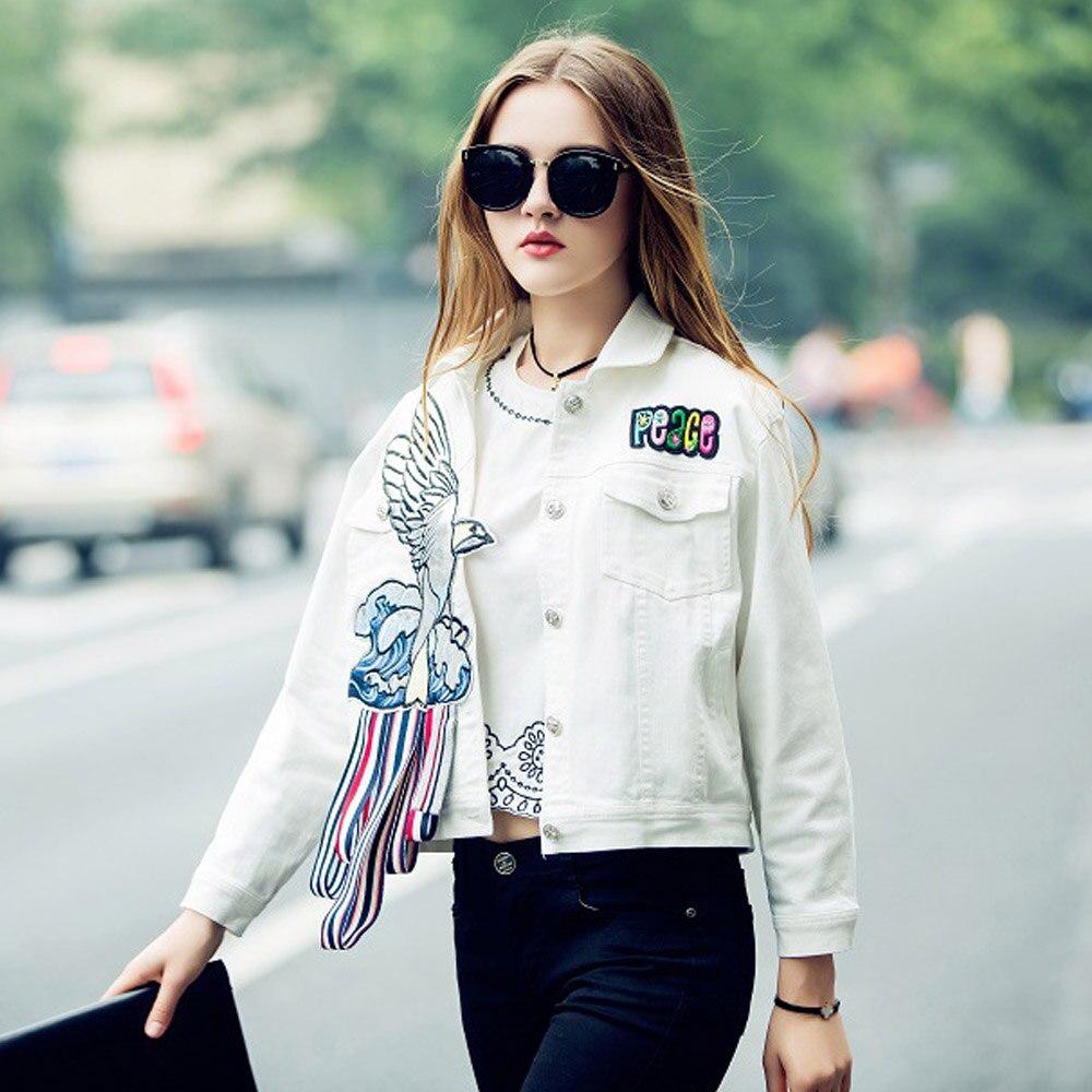 Us 31 99 2017 Women Patch Designs Hawks Embroidery White Denim Jacket Fashion Single Breasted Lapel Long Sleeve Outwear Yn 4281 In Basic Jackets