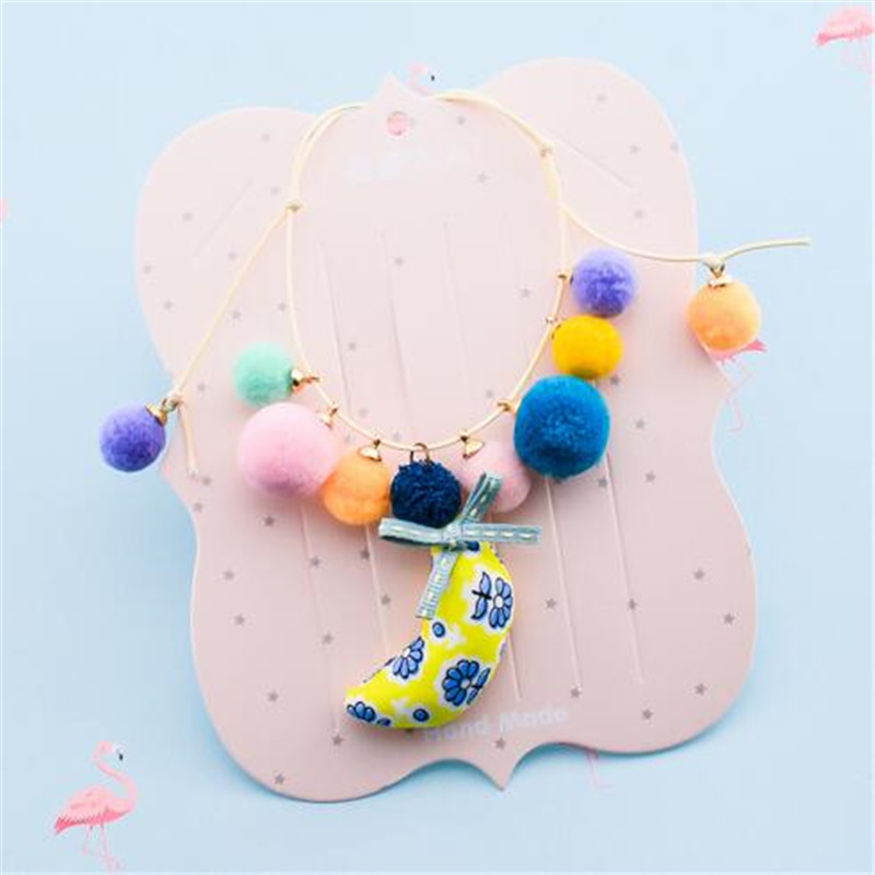 Korea Handmade Cute Plush Ball Fabric Print Moon Children Necklace For Girls Kids Apparel Accessories HZPRCGNL030F in Pendant Necklaces from Jewelry Accessories