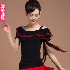Image 1 - ملابس رقص لاتينية عصرية بأكمام قصيرة من الشاش للنساء/الإناث/البنات/السيدات ، أزياء أداء ترتدي فستان ممارسة yb0311