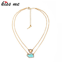 KISS ME Double Chain Personality Irregular Pendant Necklace Women Fashion Jewelry Factory Wholesale