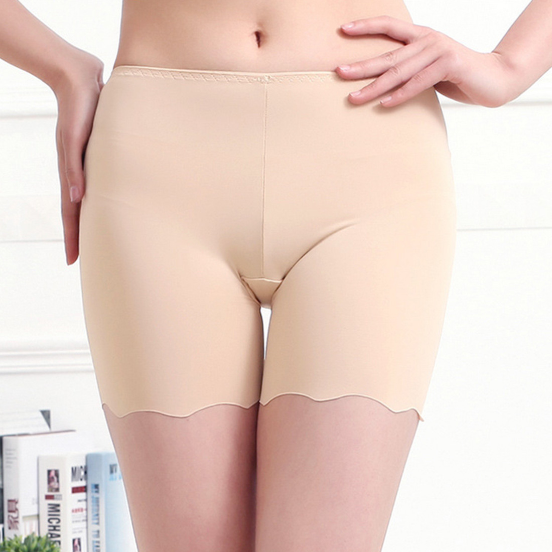 2019 Hot Selling Female Sexy Women High Waist Ice Silk Briefs Seamless Elastic Pants Short Leggings White/ Black/ Skin #0601