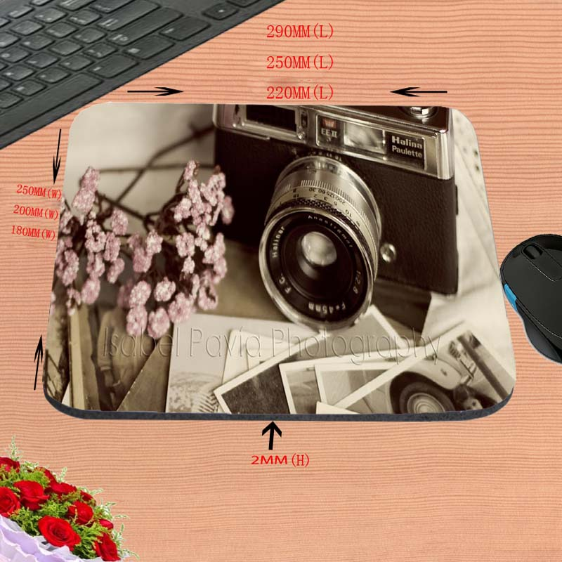 Top Selling Vintage Retro Camera Computer Mouse Mat Mice Pad Rubber Pads NEW Square Gaming Cartoon Anime Black Mouse Pad