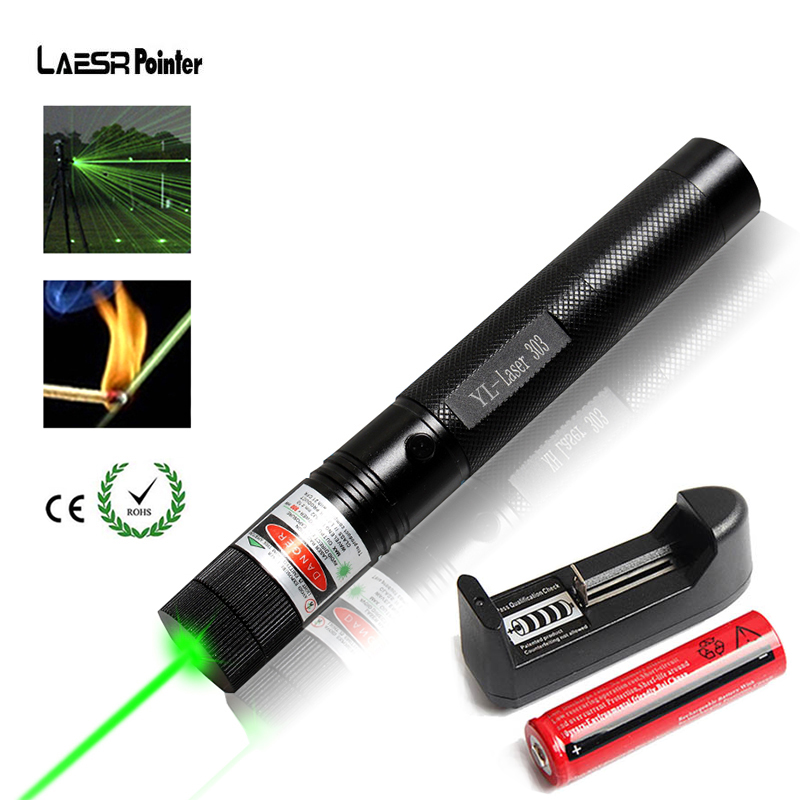 Military 532nm Green Laser Pointer 5mw 303 Lazer Pointer verde Pen Sky star Burning Beam Burn Match with 18650 Battery Charger sd 210 aluminum 5mw 532nm green laser pointer black 1 x 18650