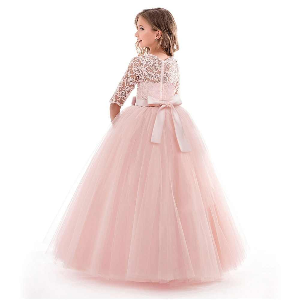 af6b18619a507 PaMaBa Deluxe Girls Christmas Dress Kid Party Wear Frocks Clothes Lace 3/4  Sleeve Floor Length Teenager Princess Style Ball Gown