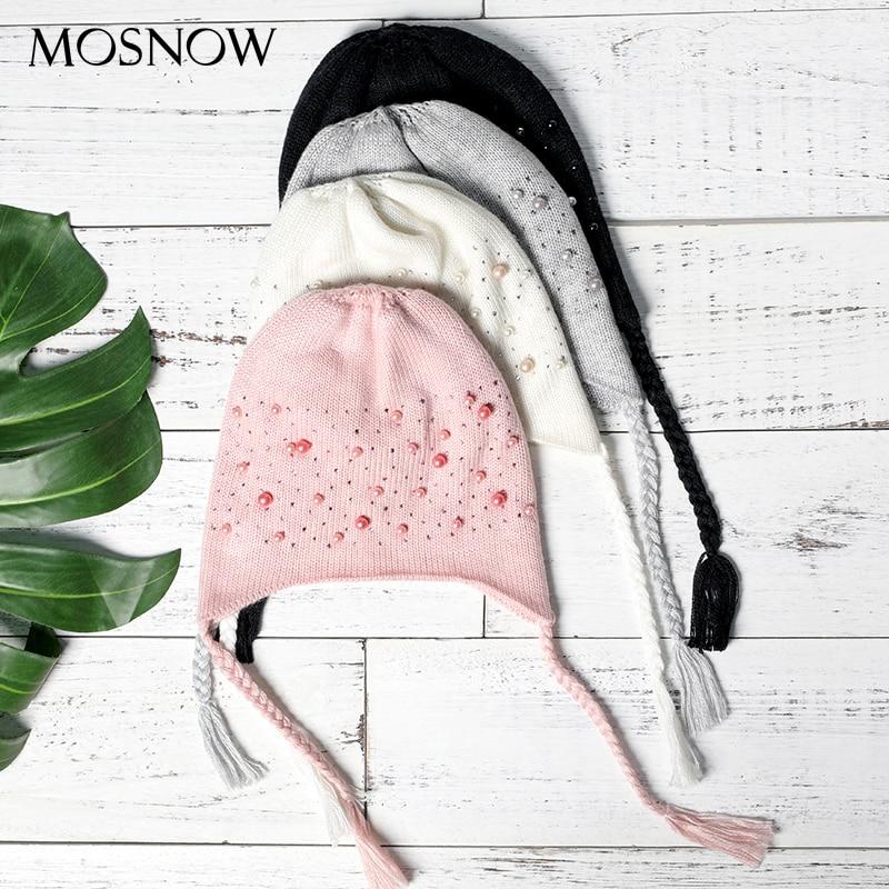 Cute Hats Winter Pearl Beanie Baby-Cap Wool Warm Autumn Plait Girls Kids Children