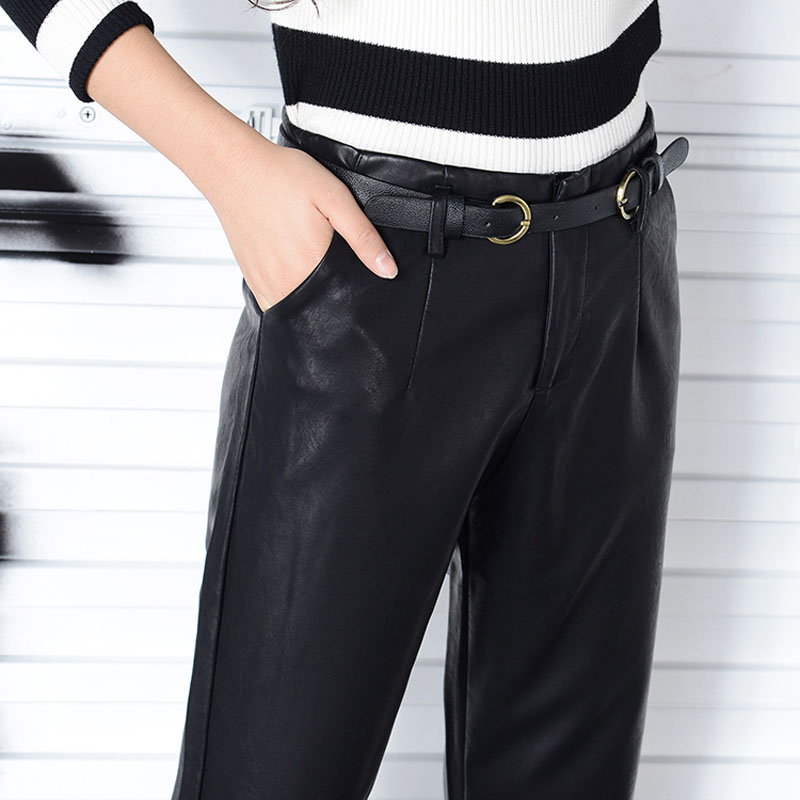 Good quality PU faux leather pants women winter autumn winter 2017 high-grade leather harem pants loose black trousers female