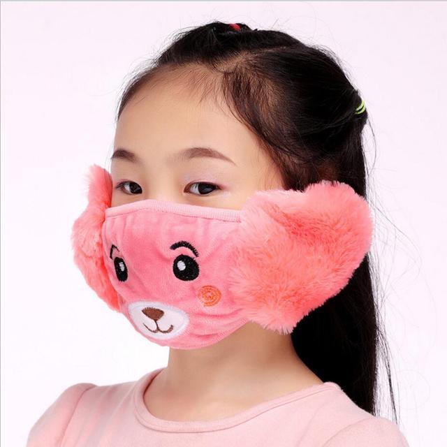 Cute bear Ear protective kids mouth mask Windproof Mouth-muffle anti dust winter masks Children Anti Haze Flu cotton Face masks 4