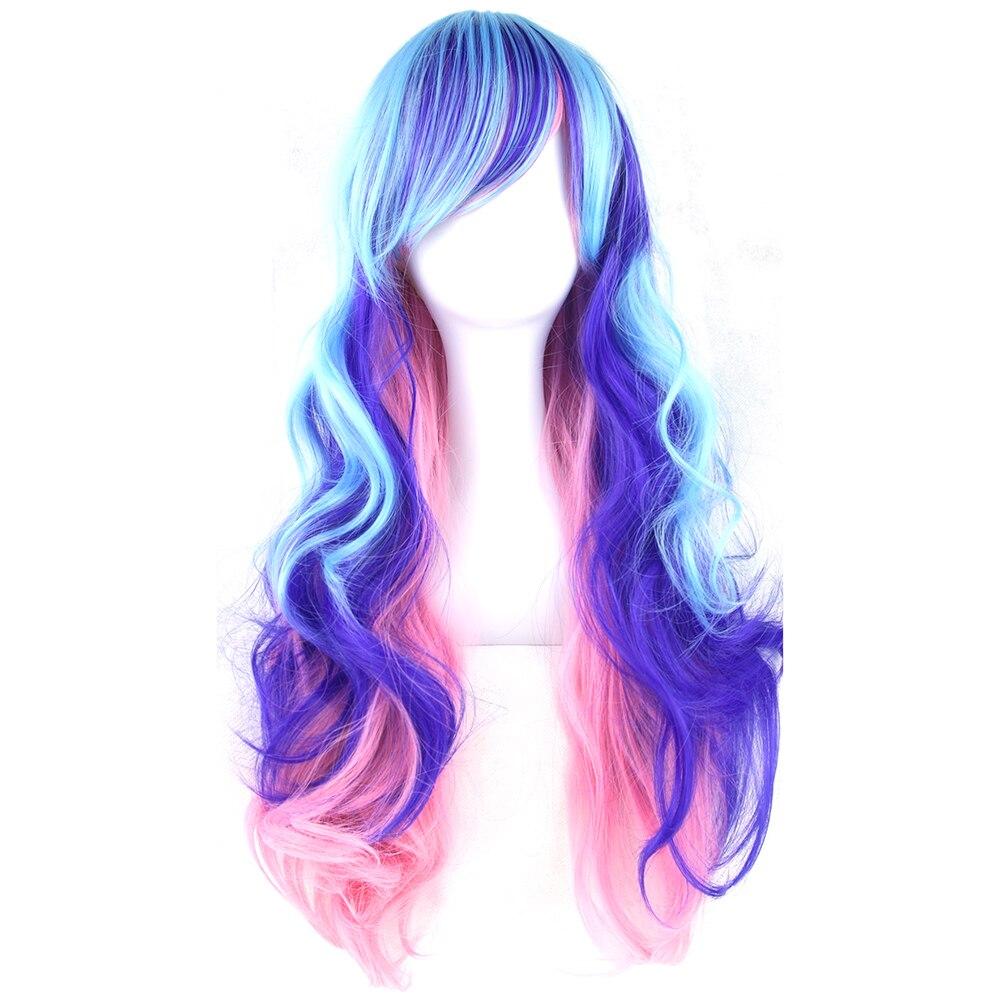 Soowee 70 cm Langes Lockiges Rosa Blau Grün Bunten Kunsthaar Volle Haarteil Partei Cosplay Perücken