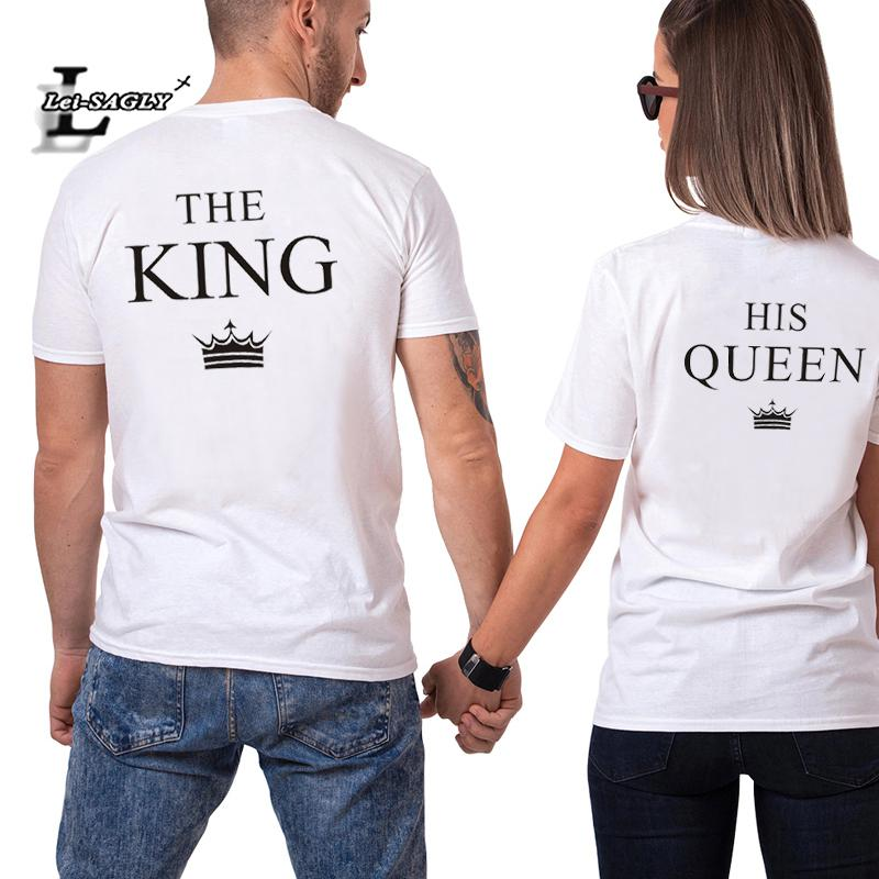 Lei-sagly King Queen His-and-hers T Shirt Women And Men Lovers' Summer Clothes Casual Short Sleeve Tops
