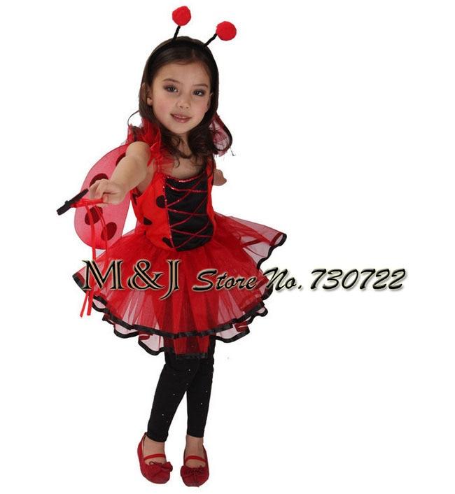 Envío gratis Pretty Girls Red Ladybug Cosplay disfraces de Halloween Kindergarten School Stage Show Celebración Carnaval Ropa