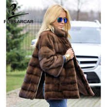 FURSARCAR 2018 Real Mink Fur Coats Women With Collar Detachable Sleeve Cuff Side Bifurcation Jacket Female Coat