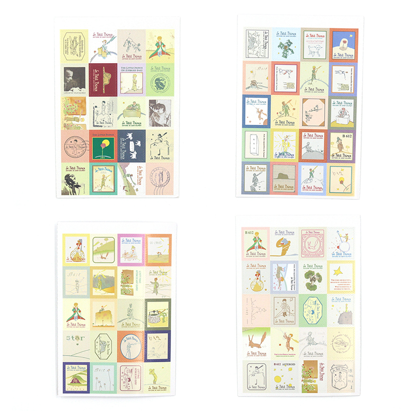 4 PCS/Pack Retro Little Prince Vintage Folding Stamps Stickers DIY Paper Decorative Stickers Europe Style Stationery Stickers teaching mathematics in kenya