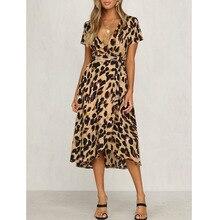 Женские платья с леопардовым принтом, летнее платье с коротким рукавом и v-образным вырезом, женские платья с оборками, Длинное Платье Макси