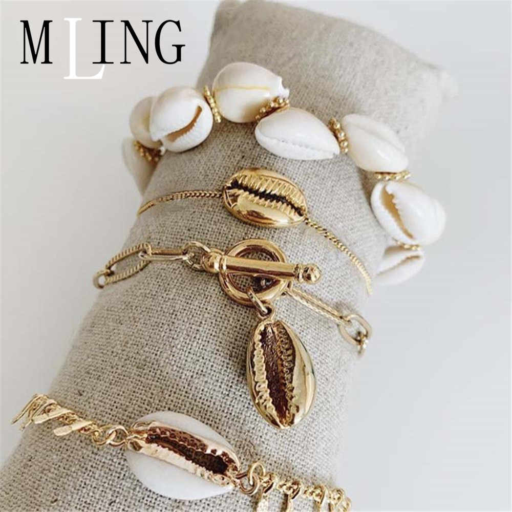 MLING Vintage Adjustable Link Chain Bracelet Gold Bohemian Sea Shell Bracelet Set For Women