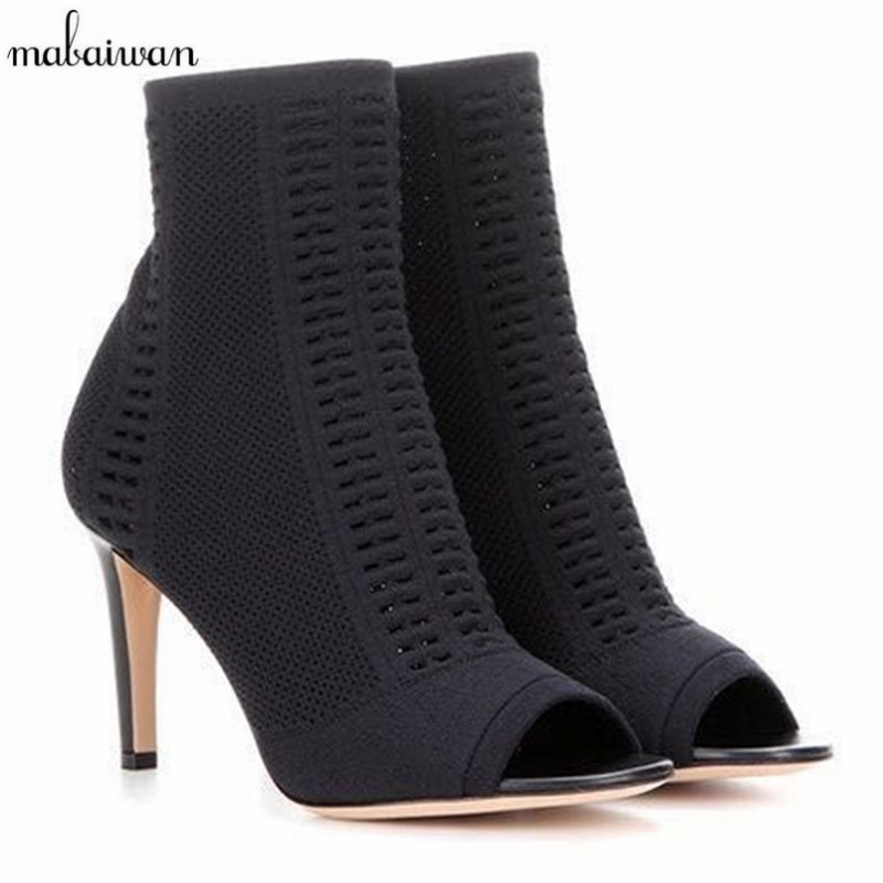 Fashion New Women Shoes Knitted Fabric High Heels Summer Ankle Boots Female Booties Black Open-Toed Shoes Women Pumps Size 34-40