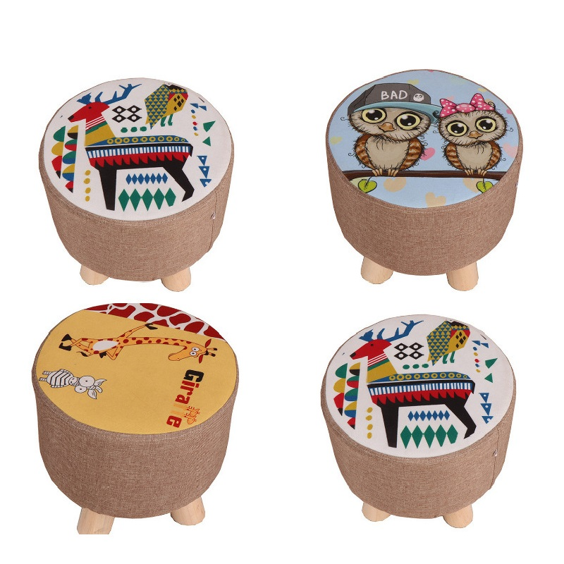 Modern Upholstered Footstool Nordic Round Pouffe Stool Wooden Leg Pattern Round Fabric Lazy Child Stool Solid Wood CE2019/10