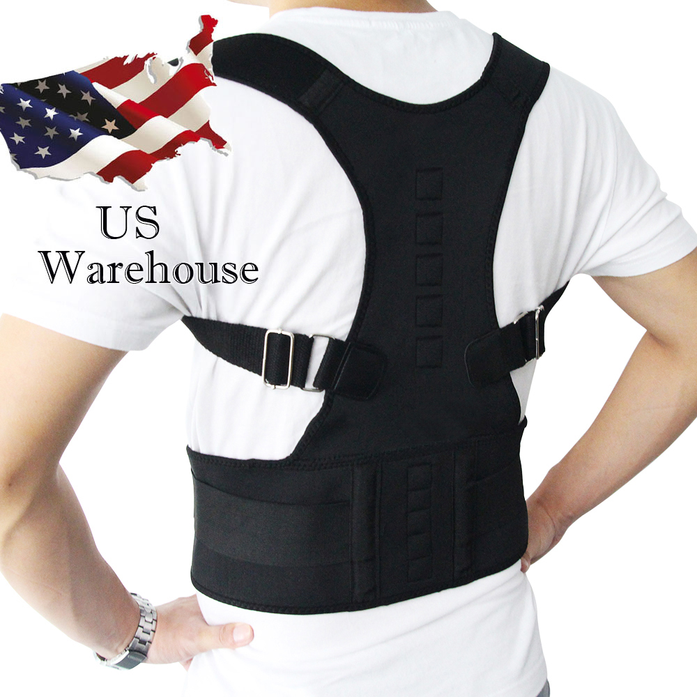 Adjustable Magnetic Posture Corrector Corset Back Men Body Shaper  Brace Back Shoulder Belt Lumbar Support S-4XL US Stock