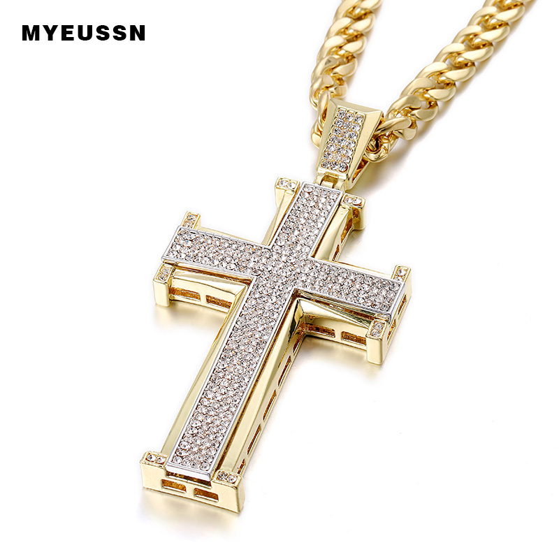 Bling Bling Cross Pendant Iced Out Black/White Crystal Charm Gold/Silver Chain Men Necklace Father's Day Gift Hip Hop Jewelry