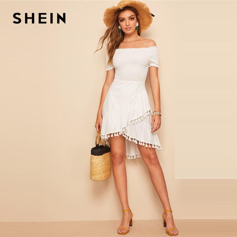 Шеин белый с открытыми плечами рубашка лиф кисточкой подол однотонное платье Асимметричный современный женские с короткими рукавами для ж...