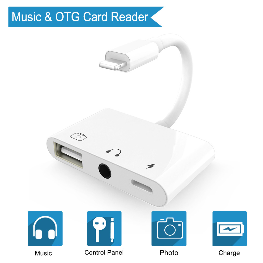3 In 1 OTG Audio Charging Adapter For Lightning To USB 3 Camera Card Reader Adapter & 3.5mm Headphone Jack For IPhone IPad IPod
