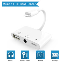 3 in 1 OTG Audio Charging Adapter for Lightning to USB 3 Camera Card Reader Adapter & 3.5mm Headphone jack For iPhone iPad iPod аксессуар apple lightning to 3 5mm jack adapter mmx62zm a