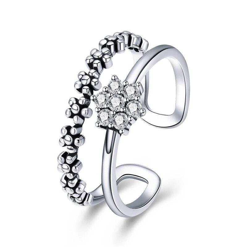 BAMOER Genuine 925 Sterling Silver Elegant Daisy Flower Finger Ring Adjustable Open Size