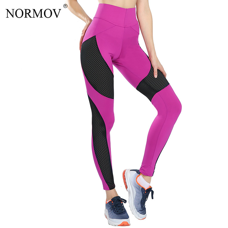 NORMOV S-XL 3 Colors Fashion High Waist Mesh   Leggings   Workout Breathable Push Up Fitness   Leggings   Sexy Slim Polyester   Legging