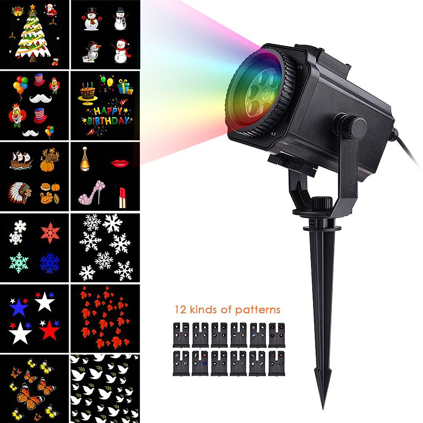 12 Pattern Replaceable Slides Snowflake Laser Projector Lamp Outdoor Waterproof Landscape Lawn Garden Light Snow LED Stage Light