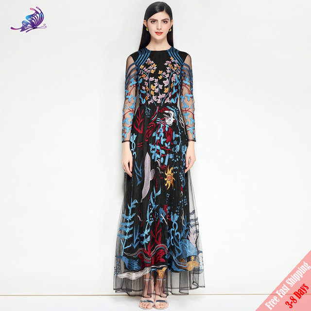 c7a4aab55e3d1 2018 Fashion Runway Party Maxi Dress High Quality Women s Long Sleeve  Vintage Mesh Luxury Floral Embroidery