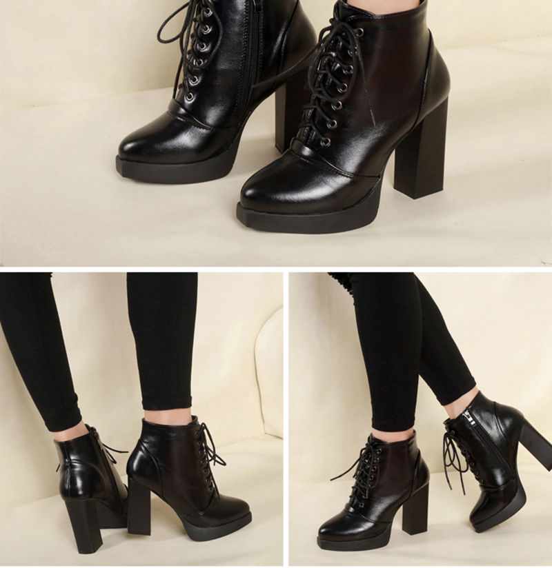 Koi Noir Et Talon Aiguille Haut Plateforme Cheville Chaussure Bottes Femme