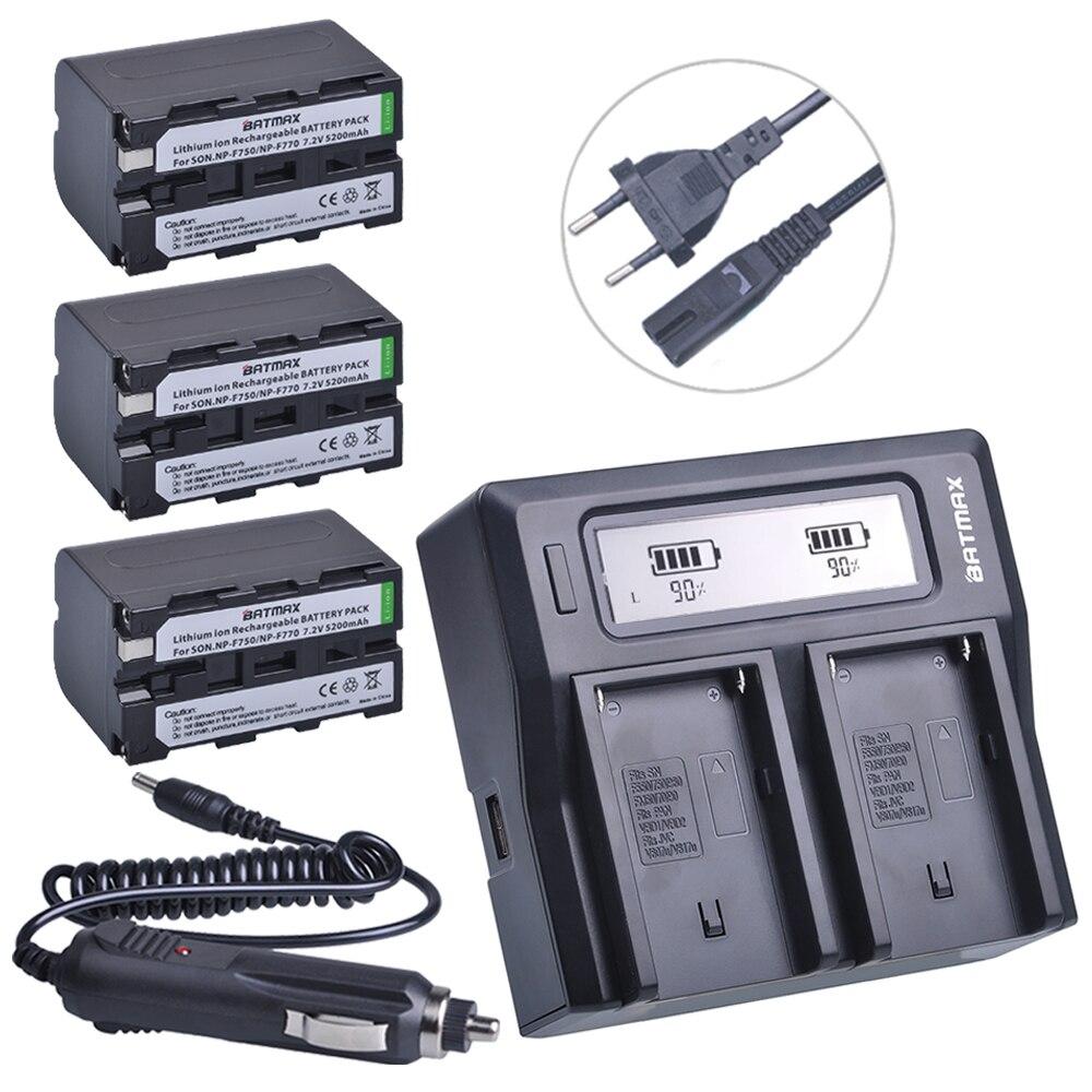 3Pcs 5200mAh NP-F770 NP-F750 NP F770 NP F750 NPF770 750 Batteries + Faster LCD DUAL Charger Kits for Sony CCD-RV100 DCR-TRU47E durapro 4pcs np f970 np f960 npf960 npf970 battery lcd fast dual charger for sony hvr hd1000 v1j ccd trv26e dcr tr8000 plm a55