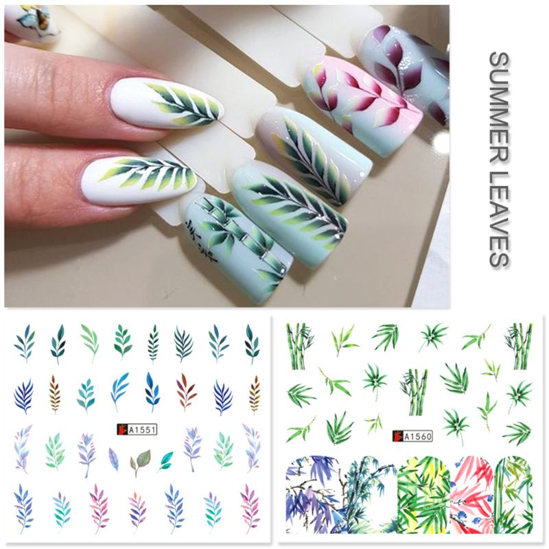 12 Pcs/set Nail Watermark Sticker Large Green Plant Pattern Epoxy Filling Material Trend Lady DIY Nails Making Filler