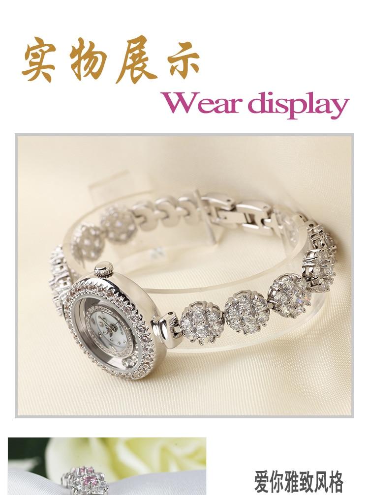 a executar feminino pequeno dial rose gold rhinestone bracelet watch