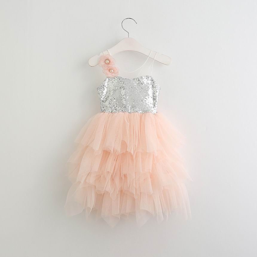 Retail Summer Girls Dress Sequins Tulle Sleeveless Fluffy Kids Princess Dresses For Girl
