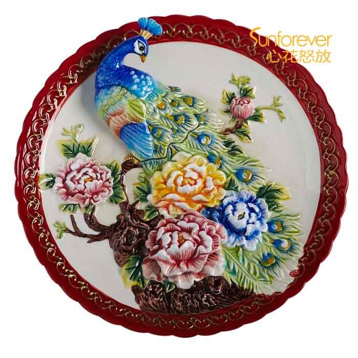 European Style Color Drawing 3d Peacock Peony Ceramic