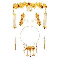 Wedding Bridal Jewelry Sets Chinese Style Golden Color Headpiece Hair Sticks Ancient Ethnic Choker Necklace with Hook Earrings