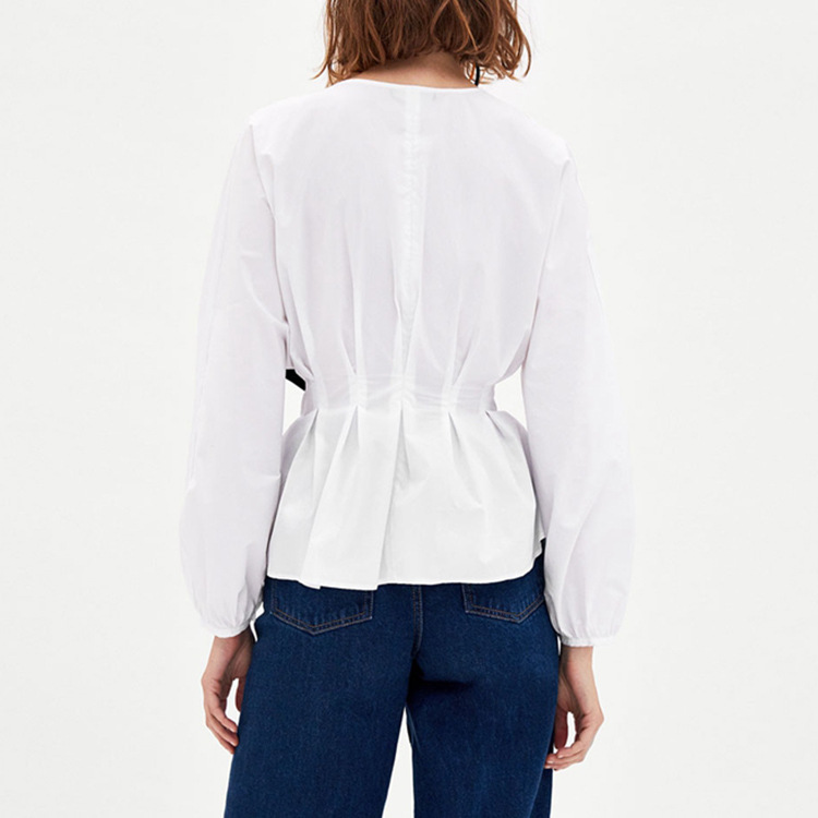 Womens tops and blouses 2018 new Belt Solid Long Sleeve Top Summer Women Office Ladies Work Elegant Blouse in Blouses amp Shirts from Women 39 s Clothing