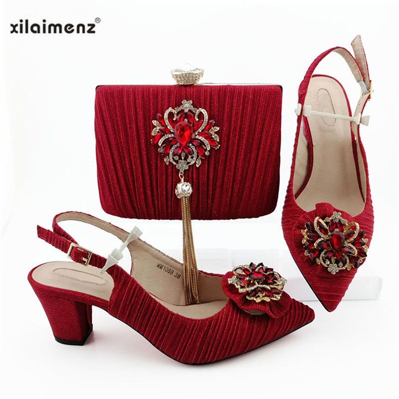 Red Fashion Design Sandals Women Classics 2019 African Women Wedding Shoes and Bag Set Decorated with