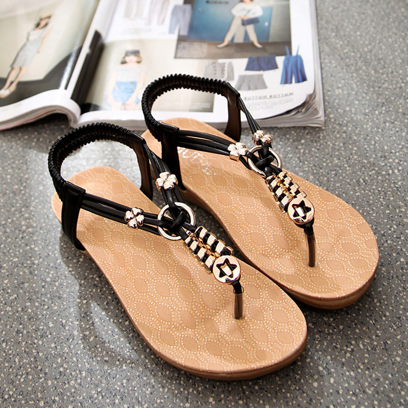 Women Sandals Summer  Flip Flops Shoes Woman Ladies Shoes Bohemia Ankle Strap Women's Shoes Black Beige plardin 2017 bohemia summer casual women wedges platform woman ladies metal decoration flip flops genuine leather shoes