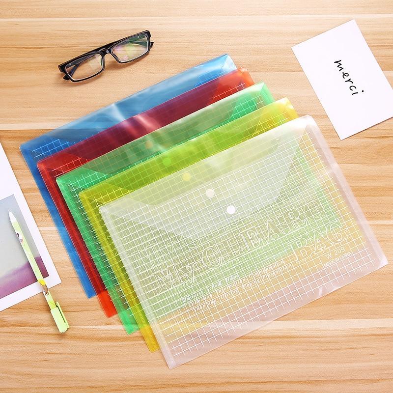 1 Pcs Waterproof A4 File Bag Clear Grid Button PVC File Bag Folder Office Stationery