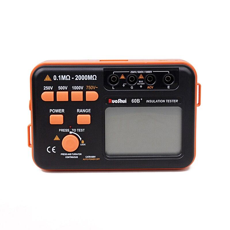 RuoShui 60B+ 1000V Insulation Resistance Meter Ground Tester Megohmmeter Voltmeter w/LCD Backlight +Multimeter like VC60B+
