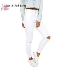 Летом стиль белая дыра рваные джинсы Женщины jeggings прохладный джинсовые высокой талии брюки капри с Девушкой тощие черные джинсы